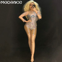 New Women Sexy Stage Bodysuit Sparkling Crystals Jumpsuit Nightclub Party Dancer Singer Stage Wear Performance Costumes