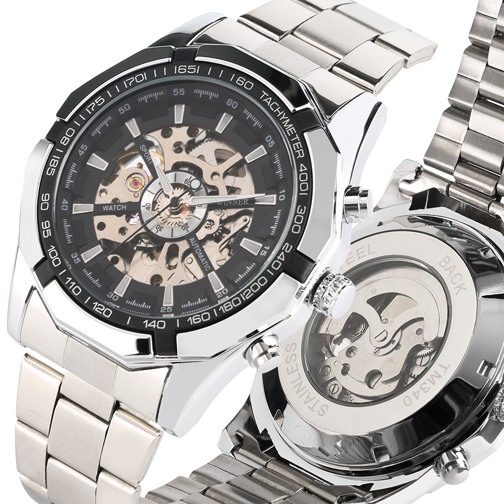 Silver Skeleton Mechanical Watch Stainless Steel Band Automatic-self-winding Watches Triple Dial Business Style Male ClockSilver Skeleton Mechanical Watch Stainless Steel Band Automatic-self-winding Watches Triple Dial Business Style Male Clock