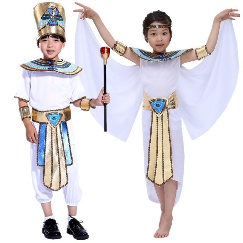 Halloween Boy Girl Egypt Egyptian Pharaoh Cleopatra Prince Princess Costume Kids