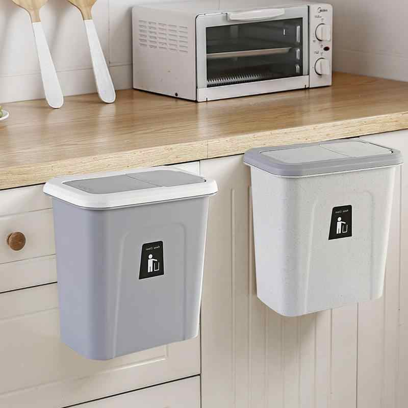 Push Top Trash Can Hanging Automatic Return Lid Fruit Vegetable Pericarp Small Cabinet Cupboard Kitchen Garbage Storage Bucket
