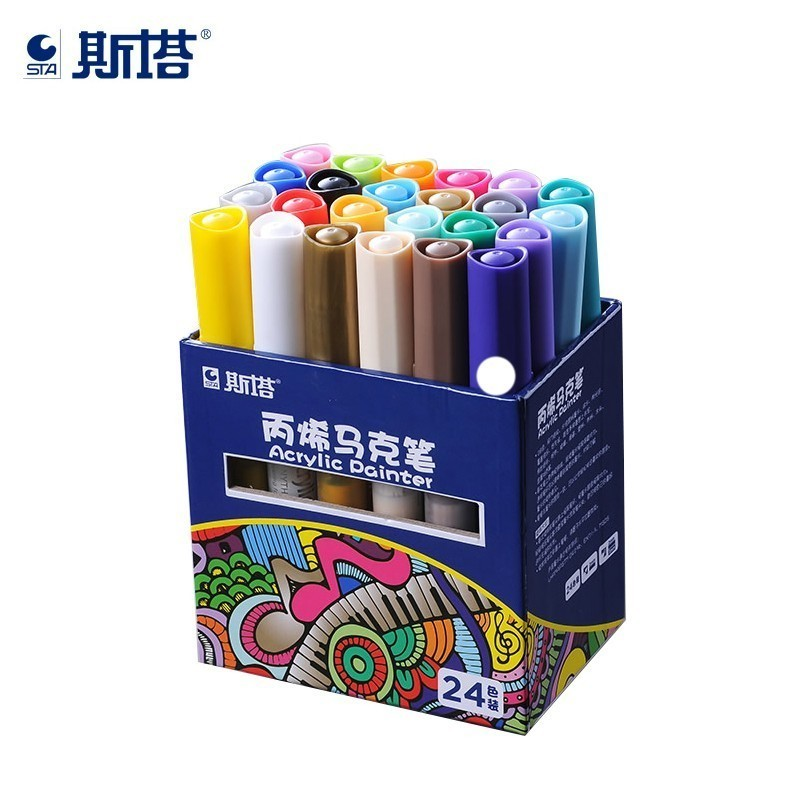 STA 24Color Set Permanent Colored Paint Markers Set Metal Fabric Plastic Water-based Acrylic Painter Pens DIY Highlighter Marker