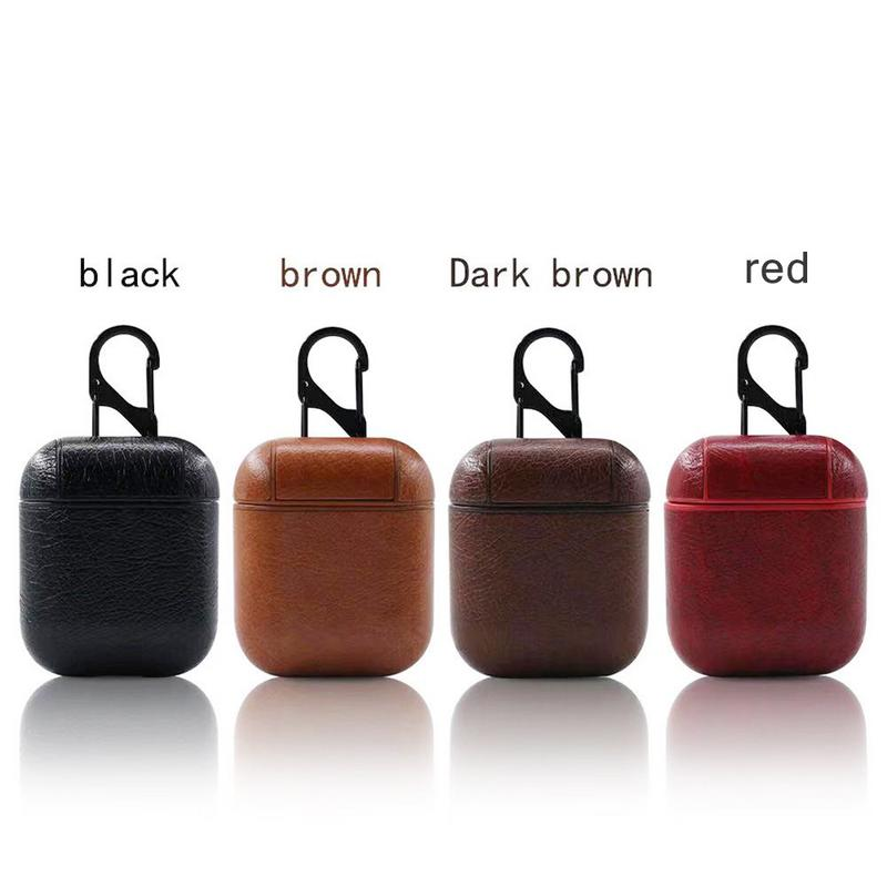 For Airpods Mini Protective Case With Hook Leather Wireless Bluetooth Headset Charge Headphone Box Exquisite Keyhole Hollowing