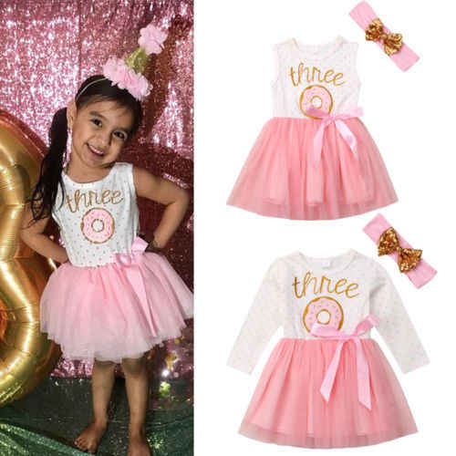 2019 Brand Infant Baby Girl Pageant Party One/Two/Three Birthday Party  Wedding Princess Lace Tutu Flower Dress Sequin Headband
