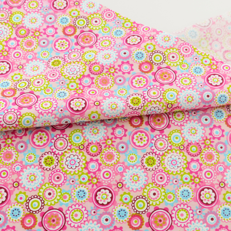 pink flower Cotton Fabric Home Textile Decor Bedding Clothing Quilting Patchwork Scrapbooking Doll Sewing Cloth Teramila Fabrics craft