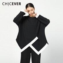 CHICEVER хит, цветные топы, женские футболки с круглым вырезом, рукав летучая мышь, асимметричный подол, свободная футболка для женщин, модная повседневная одежда, новинка