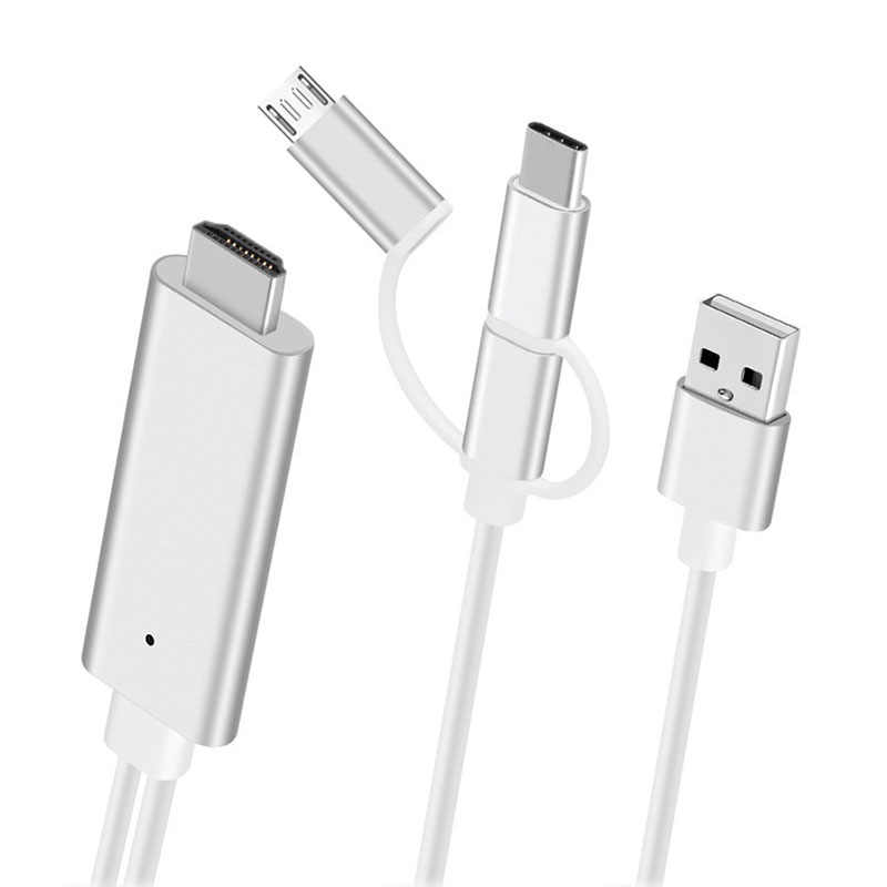 3 in 1 HDMI USB Cable for iPhone Lightning Android Micro USB Type C to HDMI  HDTV Digital AV Adapter for iPhone X 8 Huawei Xiaomi