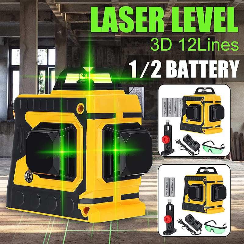 12 linee di Green Cross Line Level Laser con 1/2 Batteria 532nm 3D 360 Gradi di Rotazione Auto Livellamento Laser Orizzontale Verticale fascio di12 linee di Green Cross Line Level Laser con 1/2 Batteria 532nm 3D 360 Gradi di Rotazione Auto Livellamento Laser Orizzontale Verticale fascio di