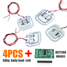 New 4pcs 50KG Human Scale Body Load Cell Resistance Strain Weight Sensor + HX711 AD Module Pressure Sensors Measurement Tools купить недорого в Москве