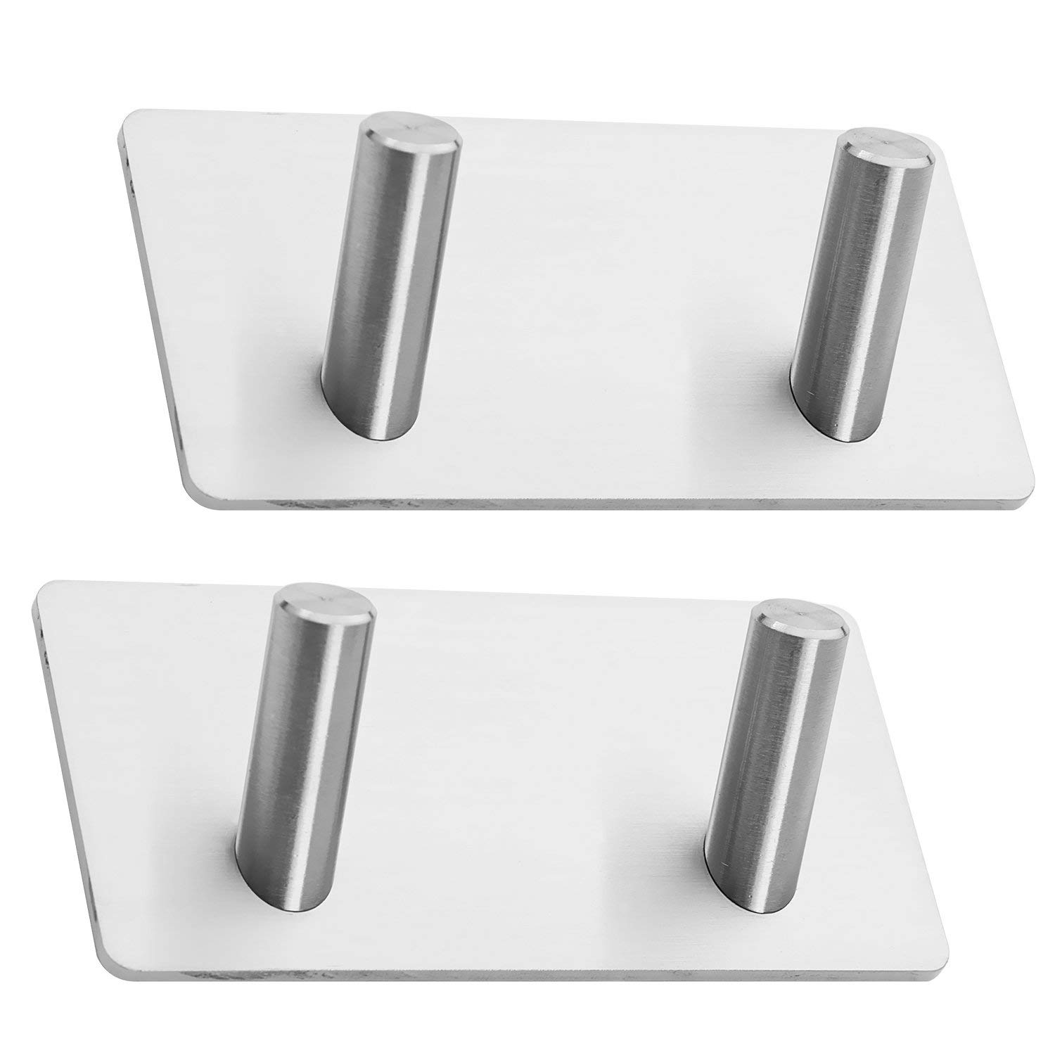 2 Pack of Self Adhesive Hooks, Towel Rail, Hat Towel Robe Coat Stick-up Stainless Steel Hanger for Kitchen Bathrooms Lavatory