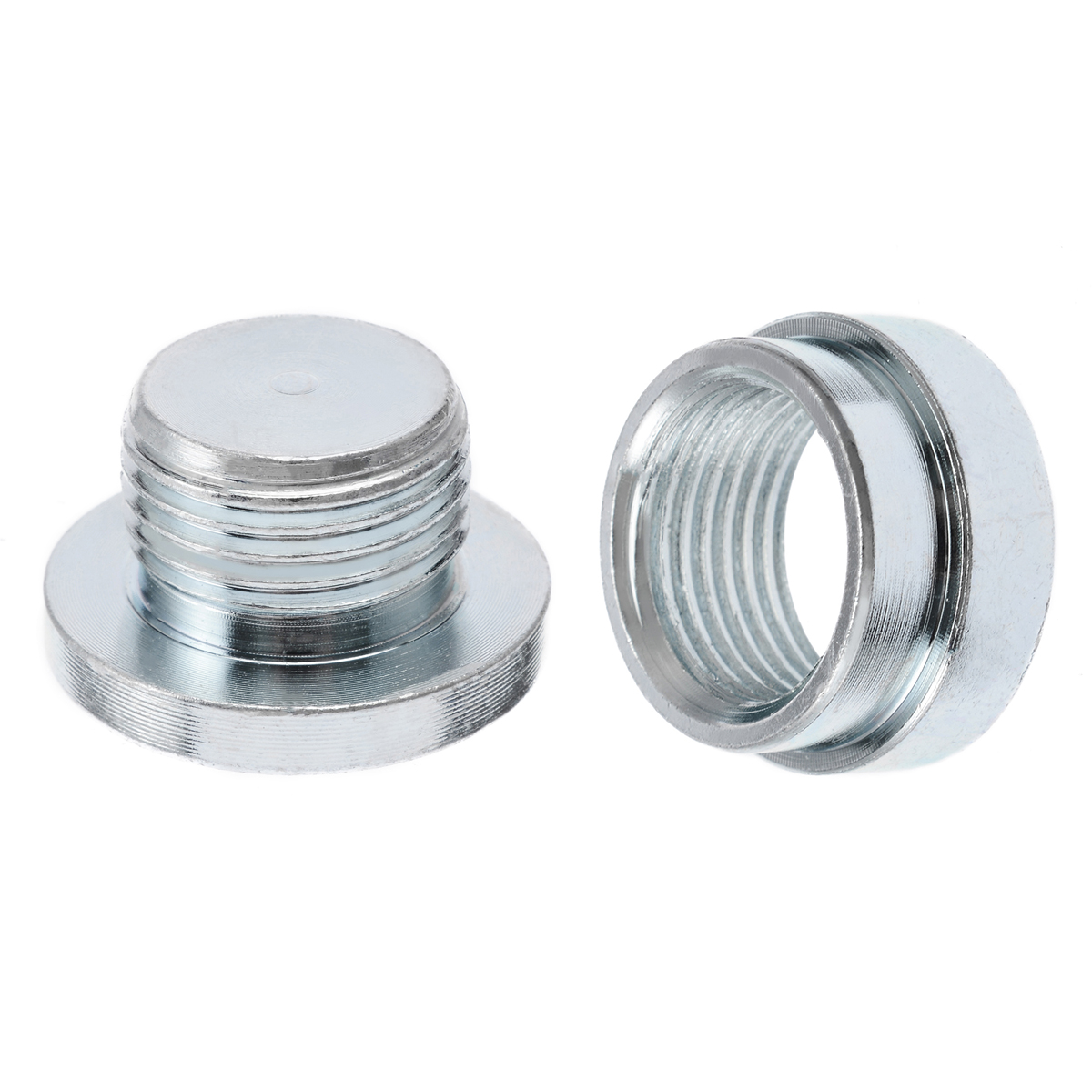 2pcs/set <font><b>M18</b></font> <font><b>x</b></font> <font><b>1.5</b></font> O2 Oxygen Sensor Stainless Steel Weld On Bung Plug Nut Cap Kit Easy To Weld On image