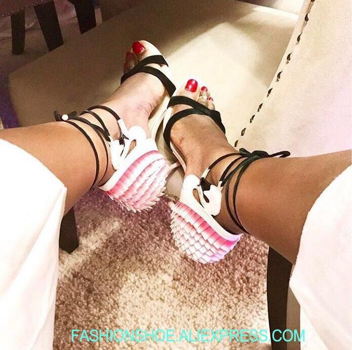 Femmes De Ruches Summer Bout Sandales En Talons Mariage Noir À Daim Hot Lacets Lanières Retour Rose Flamant Hauts Cuir Chaussures Ouvert Dames qxXwwStR