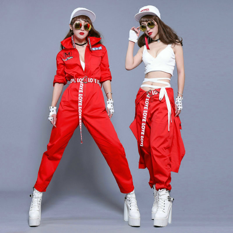 #0110 Stage Costumes For Singers Women Dance Night Club Costume Hip Hop Overalls Unisex With Belt Red Jumpsuit Long Sleeve Loose