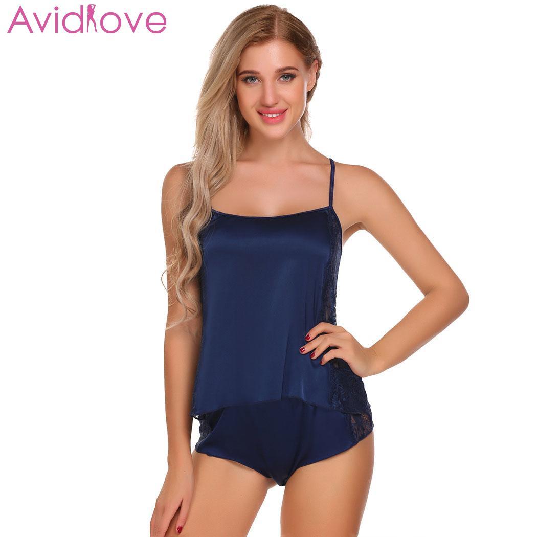 Avidlove Women Sexy Underwear Sleepwear Sleeveless Strap Nightwear Lace Trim Satin Cami Top   Pajama     Sets   Intimate Sexy Lingerie