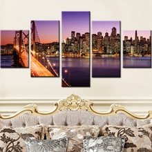 Canvas HD Prints Posters Home Decor For Living Room 5 Pieces San Francisco At Night Modular Picture Paintings Wall Art Framework