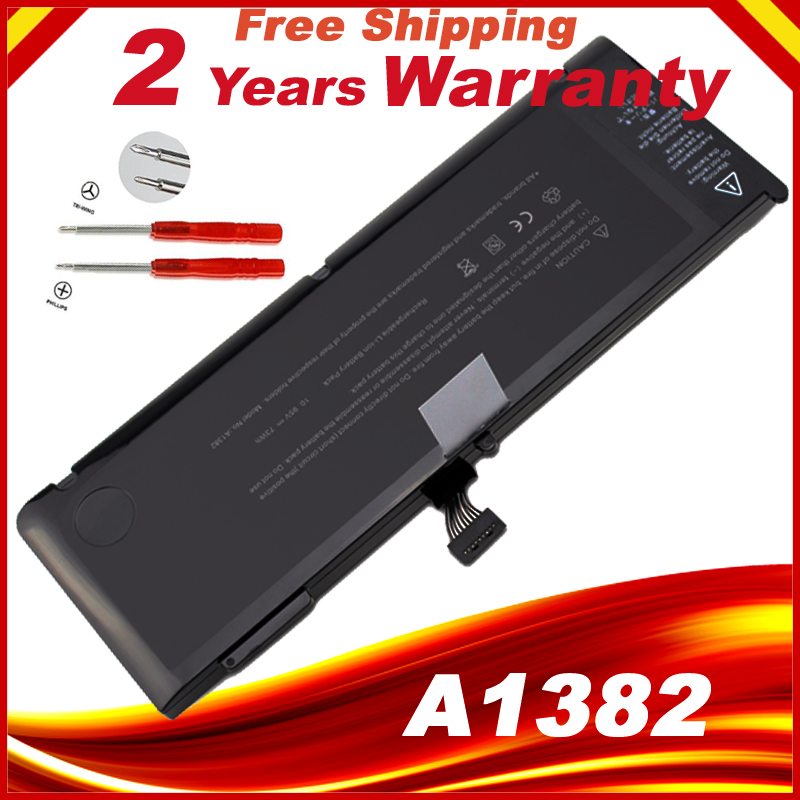 A1382 Battery For Apple Macbook Pro 15 Inch A1286 (only For Early 2011, Late 2011, Mid 2012), Fit MC721LL/A MC723LL/A