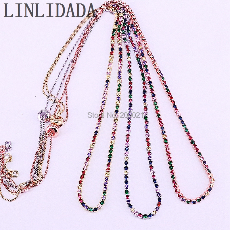 5Pcs 2019 New Arrived Mix Color Necklace With Rainbow Cz Tennis Chain Colorful Cz Charm Choker Jewelry