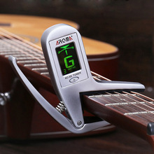Professional Electric Guitar Bass Capo Tuner Metal Guitar Capo with Auto Tuner 2-in-1 Tuning Clip for Guitar Bass Accessories metal guitar capo with bridge pin remover fit for acoustic electric guitar bass ukulele mandolin soprano concert tenor baritone