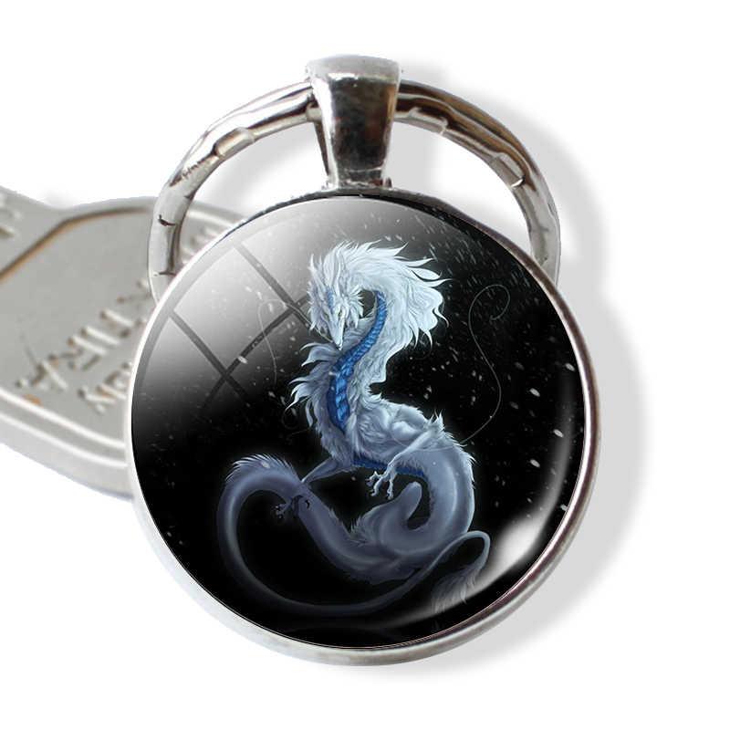 Moda dragón llavero colgante hecho a mano cristal cabujón Domo fantasía ala llavero joyería hombres mujeres llavero anillo regalo