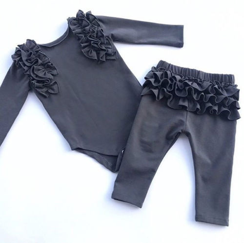 2Pcs Newborn Baby Girls Ruffles Clothes Romper Bodysuit Long Pants Shorts Outfit
