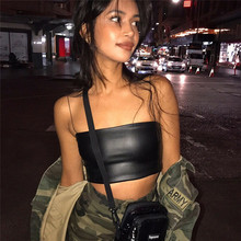 Summer Casual PU Leather Camisole Female Slash Neck Ladies Street wear Solid Crop Top Chic Ring Strap Bodycon Black Skinny Top