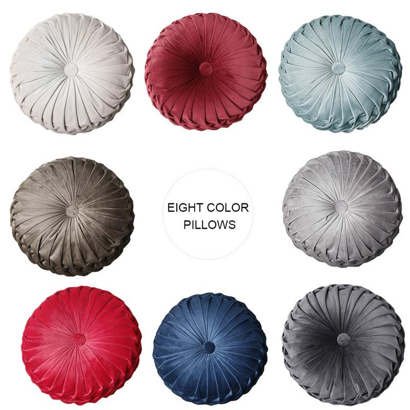Pumpkin Shape Cushion Round Cushions Decorative Pillow Handmade Plicated Wheel Shape Cushions Decorative