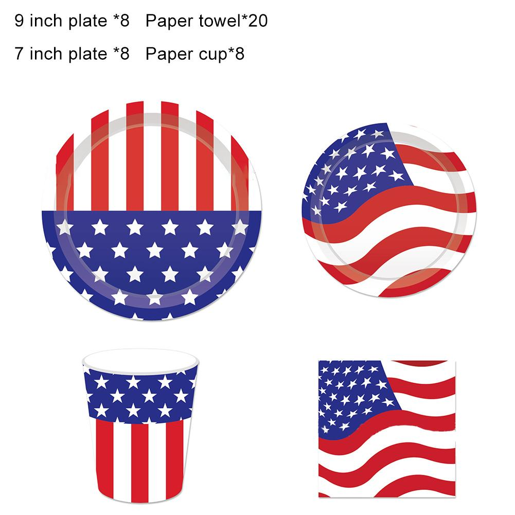 Assiettes plates drapeau USA