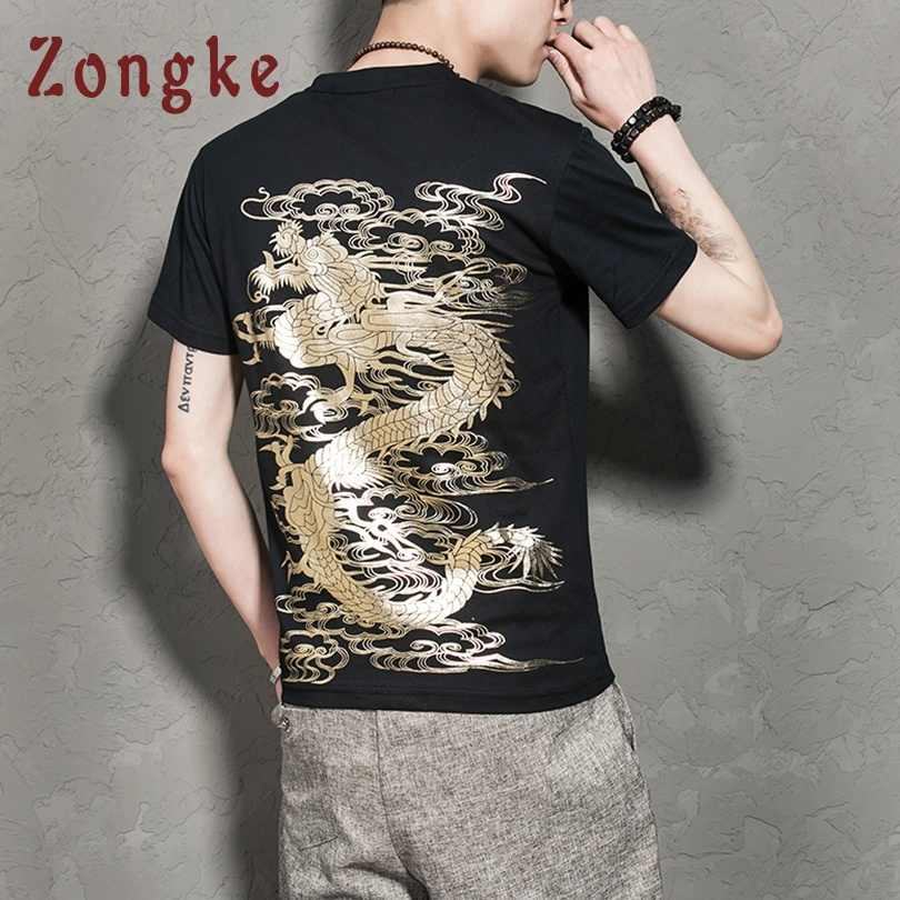Zongke Chinese Style Golden Dragon White T Shirt Men Tshirt Men T-Shirt Men Funny T Shirts Harajuku Streetwear 5XL 2019 Spring
