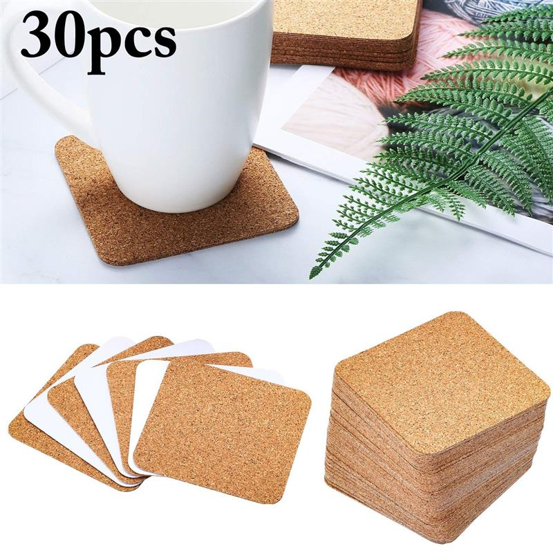 30Pcs Cork Squares Self Adhesive Reusable Cork Coaster Cup Mat Drink Coaster Kitchen Household Supplies|Water Bottle & Cup Accessories| |  -