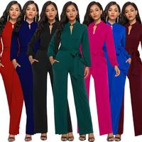 Women Long Sleeve Button Jumpsuit Wide Leg Long Pants Romper With Belt Slim Stand Collar Jumpsuit Work OL Style Malay Fashion