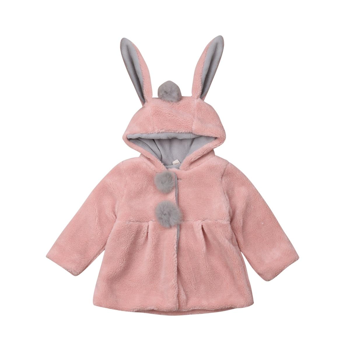 2019 Winter Newborn Kid Baby Mädchen Mit Kapuze Plüsch Mantel Baumwolle Mode Jacke Niedlichen Kaninchen Ohr Hoodies Kleidung Großhandel Dropshipping GroßEs Sortiment