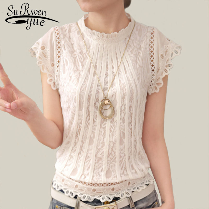 2018 Ladies White Lace Blouse Short Sleeve Stand Collar Women Tops Elegant Patchwork Crochet Women Shirt Plus Size Blusa 01C 20