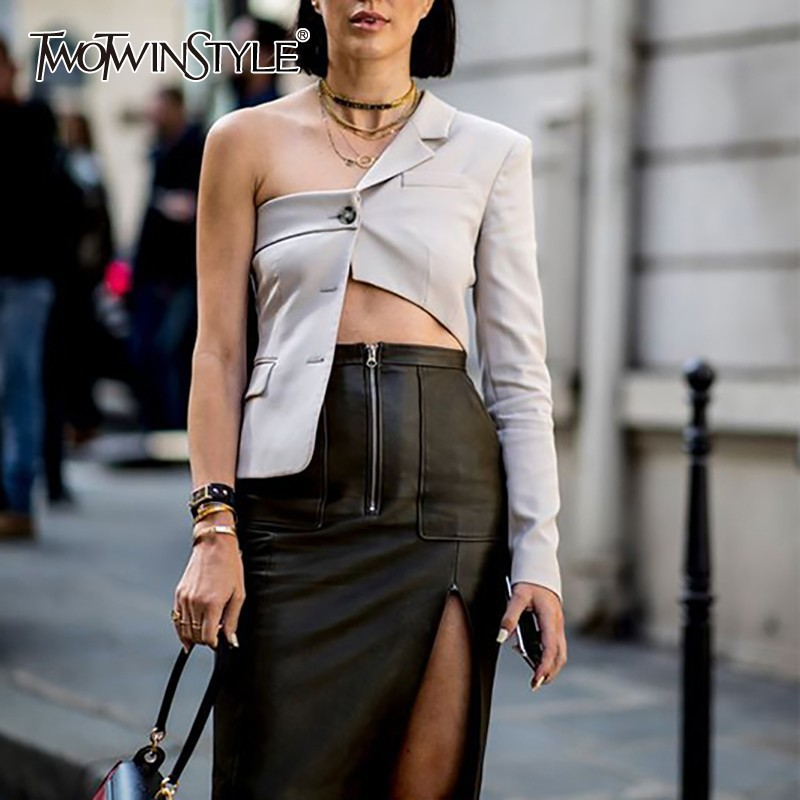 TWOTWINSTYLE Solid Casual Women Blazer One Shoulder Long Sleeve Lapel Asymmetrical Tops Female Fashion Clothes Spring