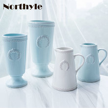 DH luxury Europe sky blue ceramic vase home Decorative tabletop porcelain flower bottle xmas decor floor house ornament