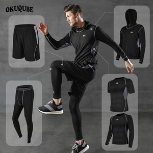 Image 1 - 5 Pieces Men Sportswear Hoodie O neck Sports Suit Elastic Tracksuit Black Gray Sport Clothing Jogging Fitness Gym Running Sets