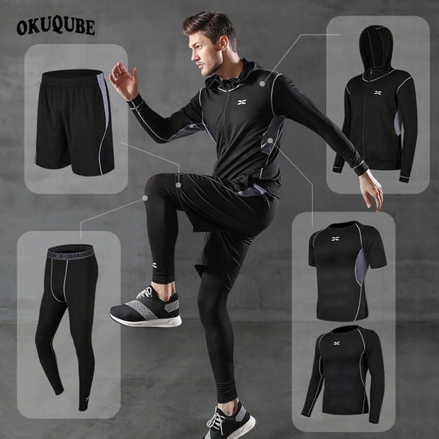5 Pieces Men Sportswear Hoodie O neck Sports Suit Elastic Tracksuit Black Gray Sport Clothing Jogging Fitness Gym Running Sets