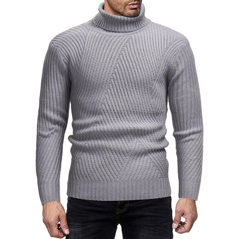 2019 Latest Design Winter Men Slim Warm Cotton High Neck Pullover Sweater Low Price