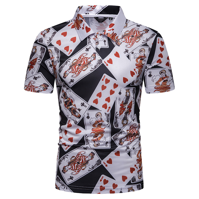 2019 Free Shipping New Arrival Summer Men's Poker Prints Short Sleeve   POLO   Mens   Polo   Shirt