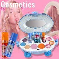 Disney Girls Princess Makeup Car Set Frozen Children Show House Makeup Box Safe Non toxic Cosmetics Toys Girls Lipstick 19Pcs