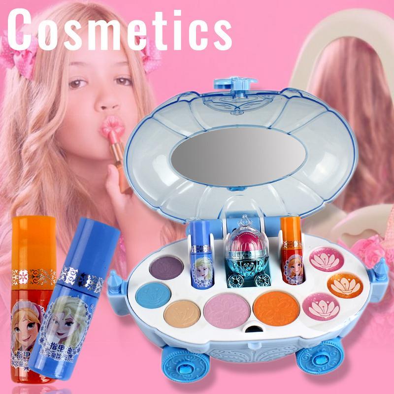 Disney Girls Princess Makeup Car Set Frozen Children Show House Makeup Box Safe Non-toxic Cosmetics Toys Girls Lipstick 19Pcs