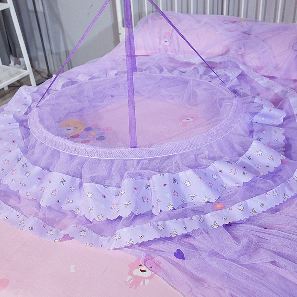 Elegant Tulle Bed Dome Bed Netting Canopy Circular Pink Round Dome Bedding Mosquito Net for Twin Queen King Bed Mosquito Net in Mosquito Net from Home Garden