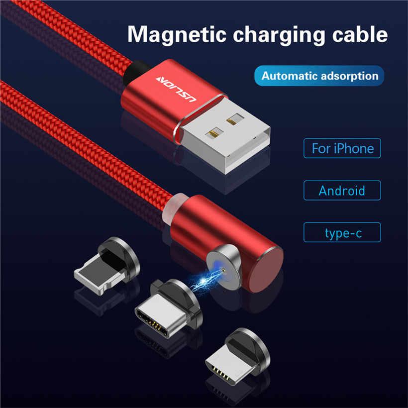 USLION كابل مغناطيسي المصغّر usb نوع C شحن ل فون XS ماكس 8 7 المغناطيس 1 M شاحن الهاتف كابل لسامسونج هواوي Xiaomi
