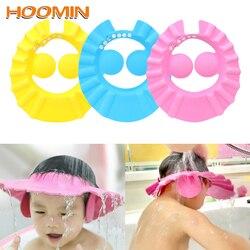 HOOMIN regulowane czepki kąpielowe produkt do kąpieli czepek do włosów szampon dla dzieci czapka ochrona słuchu Baby Shower tarcza kapelusz bezpieczny miękki kapelusz