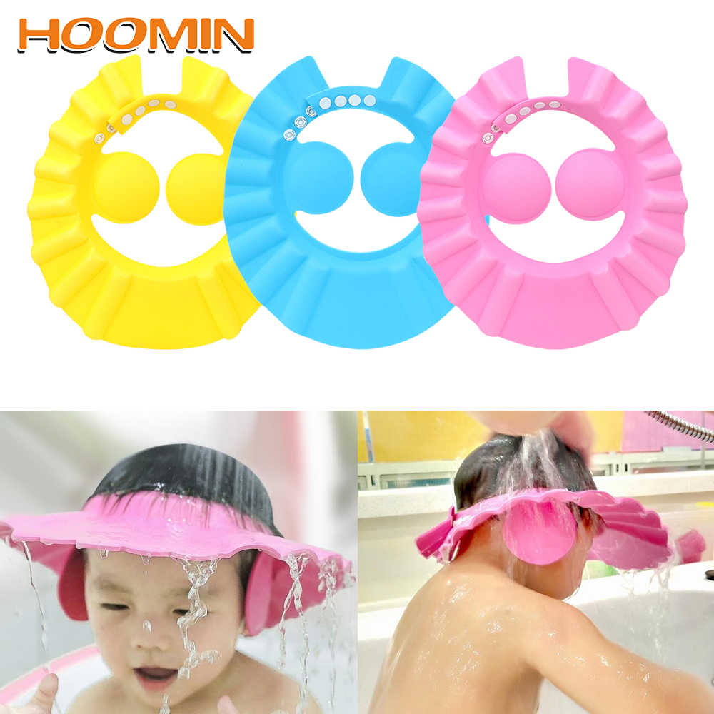 HOOMIN 調整可能なシャワーキャップシャンプーバスウォッシュ髪キャップ子供シャンプーキャップ耳保護ベビーシャワーシールド帽子安全なソフト帽子