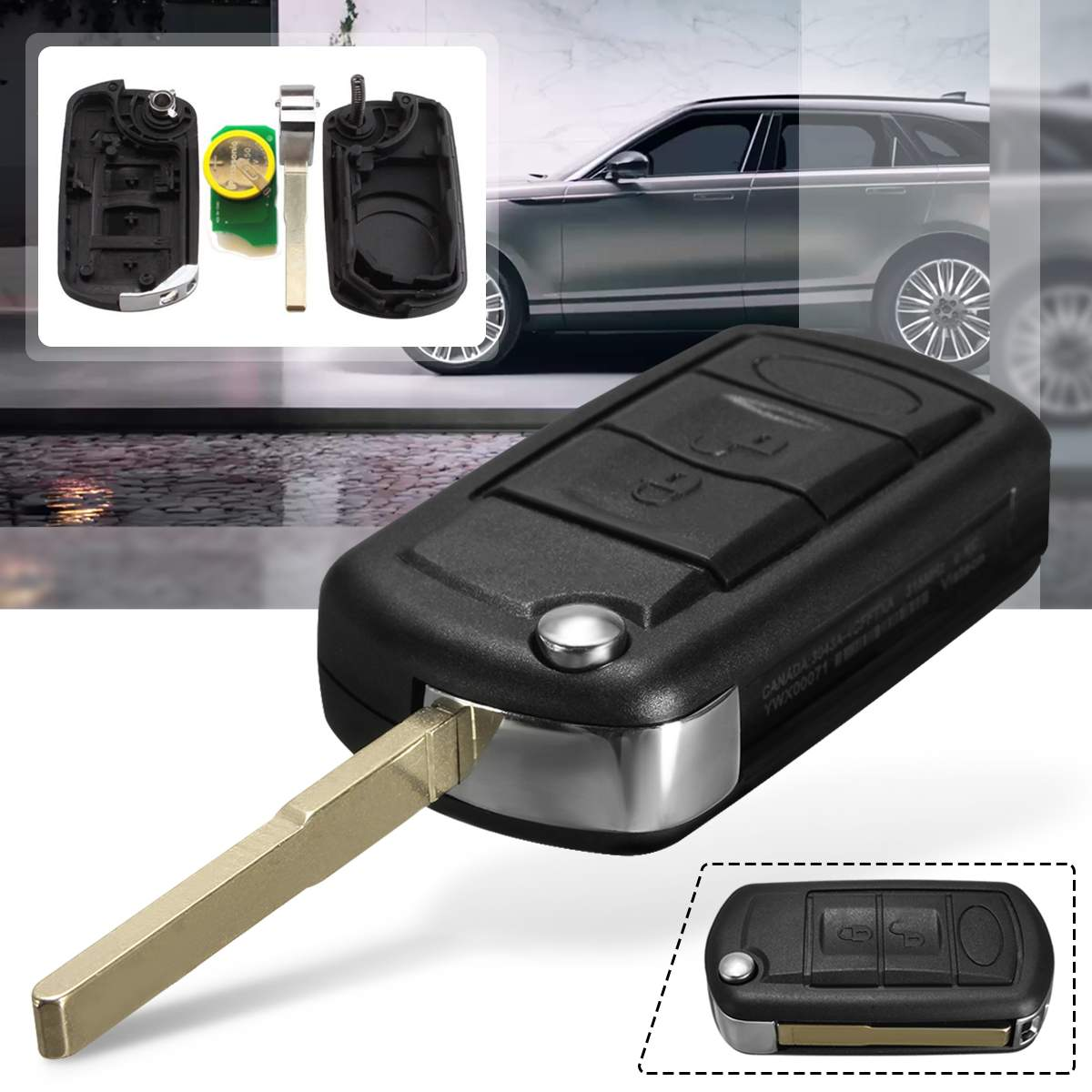 433MHz 3 button Folding Remote Key Fob for Land Rover Range Rover L322 HSE with battery & 7936/46 chip YWX000061 LR088260433MHz 3 button Folding Remote Key Fob for Land Rover Range Rover L322 HSE with battery & 7936/46 chip YWX000061 LR088260
