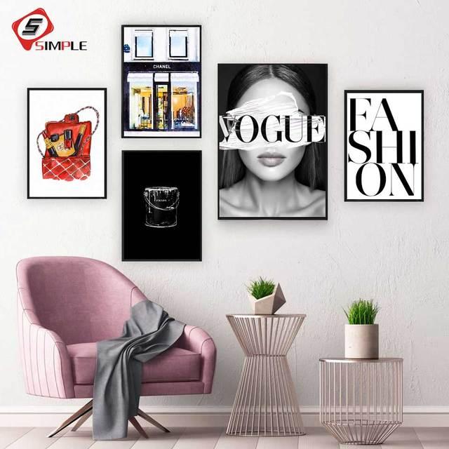 5 35 24 De Réduction Coco Mode Galerie Affiche Imprime Rouge à Lèvres Vogue Noir Citation Toile Peinture Aquarelle Fille Imprime Mur Photos Chambre