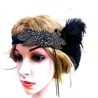 Feather Hair Accessories Rhinestone Headband Handmade Hair Band Women Black Headwear High Quality Fascinator 2019 New Arrival