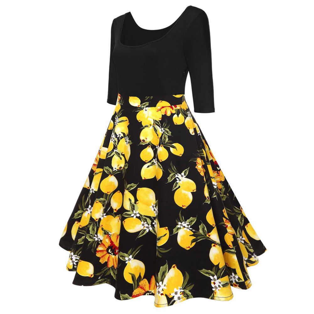 Kenancy Lemon Cetak Vintage Gaun 2019 Wanita Musim Semi Musim Panas Gaun Kasual Tunik Gaun Pin Pesta Vestidos Plus Ukuran 4XL