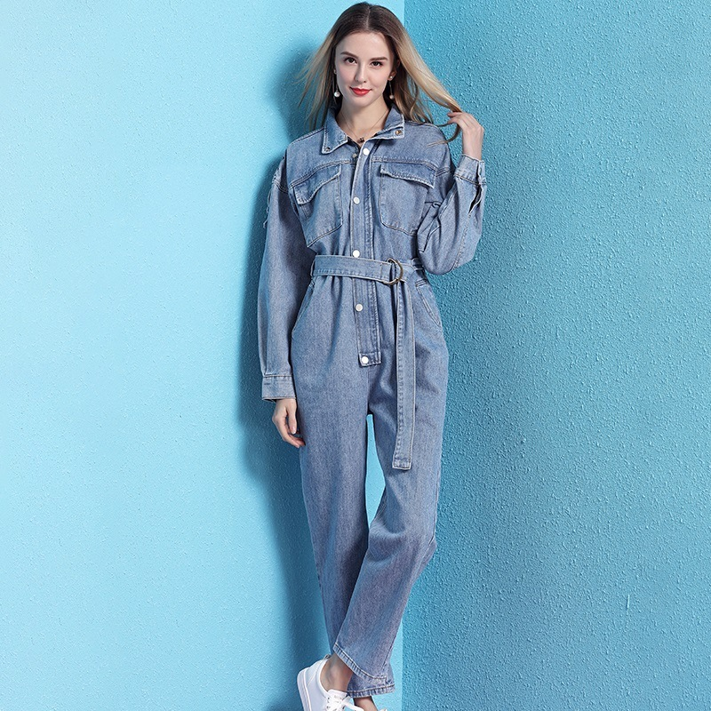 Denim jumpsuit female 2019 spring new arrival loose high waist long sleeve jumpsuit tooling casual jumpsuit