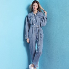 Denim jumpsuit female 2019 spring new arrival loose high waist long sleeve tooling casual women NW19B6031