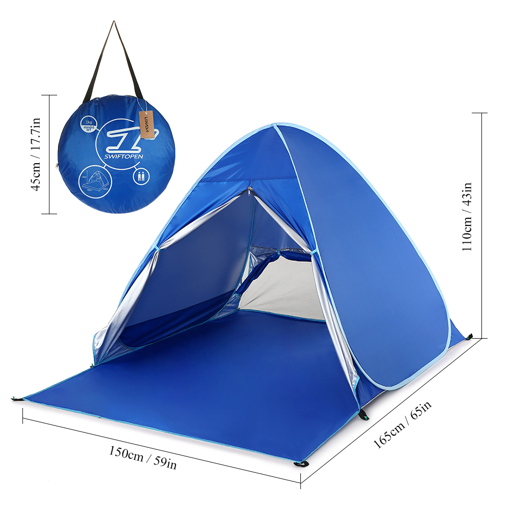 Lixada Automatic Camping Tent Travel For 2 Person Beach Tent Fishing Instant Pop Up UV Protection Tents Outdoor Camping 6 Pegs image